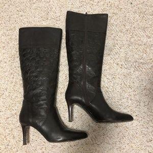 Coach Chestnut Leather Elitta Signature C Boots